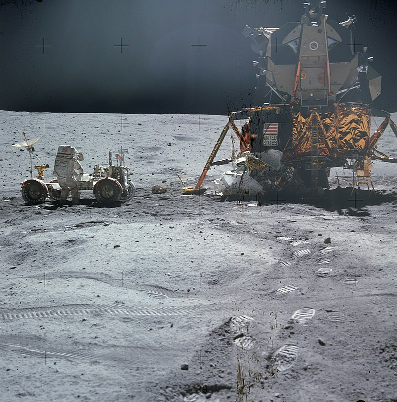 Apollo 16 LEM Orion, the Lunar Roving Vehicle and astronaut John Young