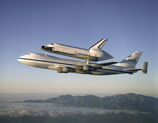 Space Shuttle Atlantistransported by a Boeing 747 Shuttle Carrier Aircraft (SCA), 1998 (NASA)