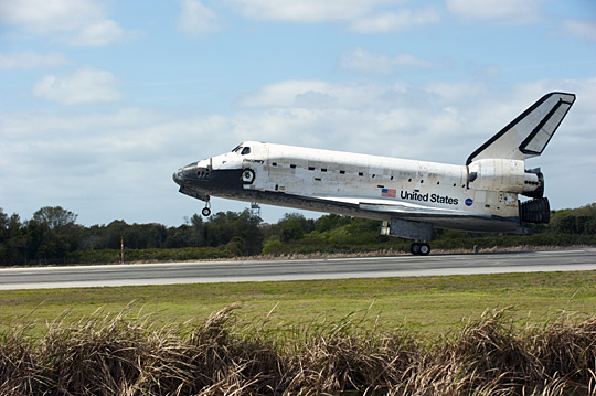 Discovery touches down for the final time at the end of STS-133.