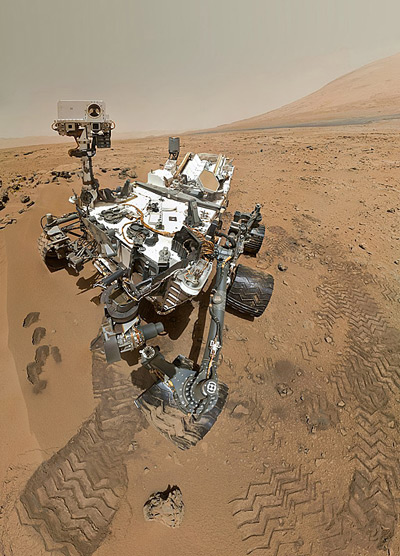 The Curiosity rover on the surface of Mars
