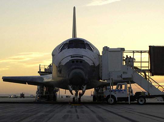 Discovery after landing on Earth for crew disembarkment