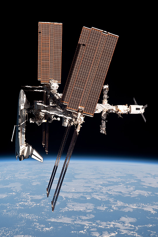 Space Shuttle Endeavour docked with the International Space Station(ISS), 2011