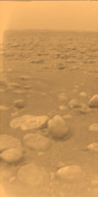 The Huygens landing site on Titan