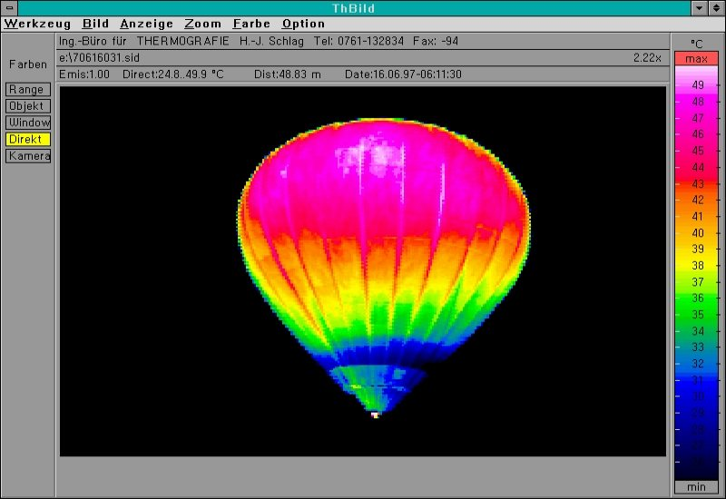 Thermal image showing temperature variation in a hot air balloon