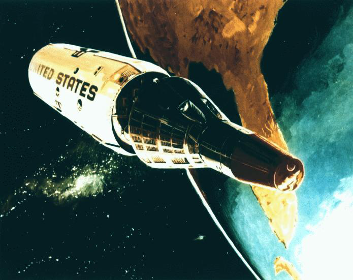 1967 conceptual drawing of Gemini B reentry module separating from the Manned Orbital Laboratory
