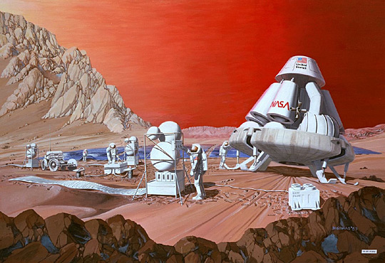 Artist Les Bossinas' 1989 concept of Mars mission