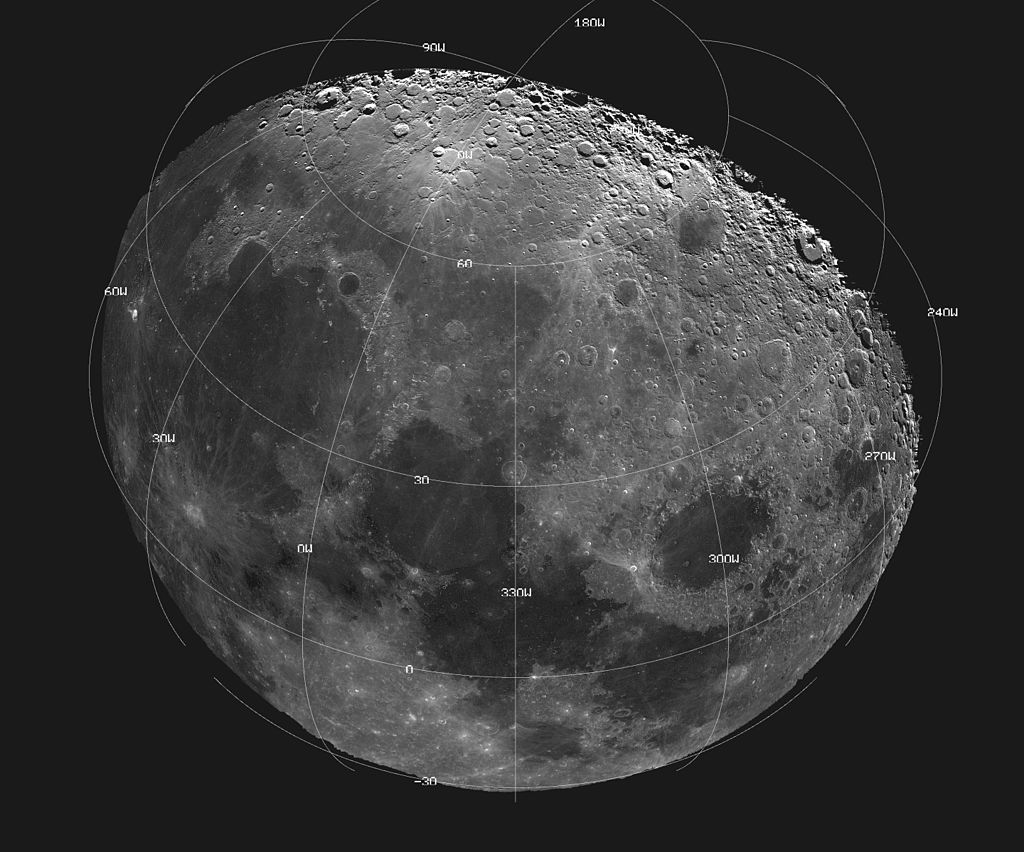 The Moon as seen in a digitally processed image from data collected during a spacecraft flyby