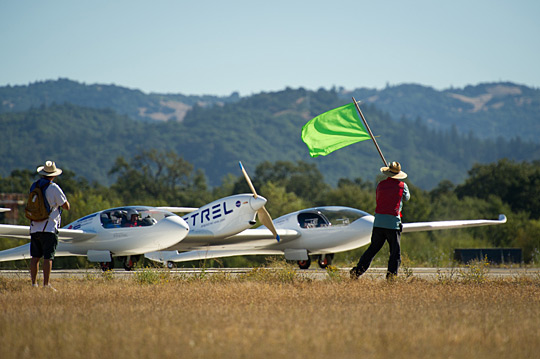 Pipistrel Taurus G4, the 2011 Green Flight Challenge winning aircraft of Pipistrel USA.com team, taxiing at the event.