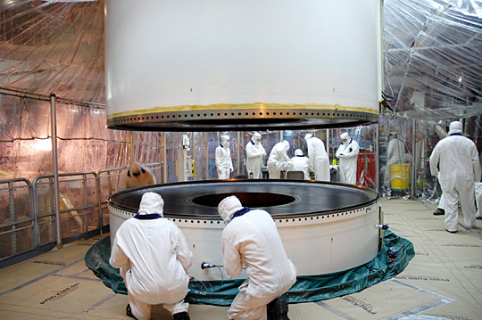 SRB sections filled with solid propellant being assembled