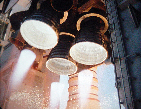 Atlantis's main engines during launch