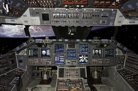 Atlantis was the first Shuttle to fly with a glass cockpit, on STS-101. (composite image)