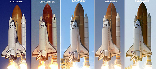 Shuttle launch profiles. From left to right: Columbia, Challenger, Discovery, Atlantis, and Endeavour.