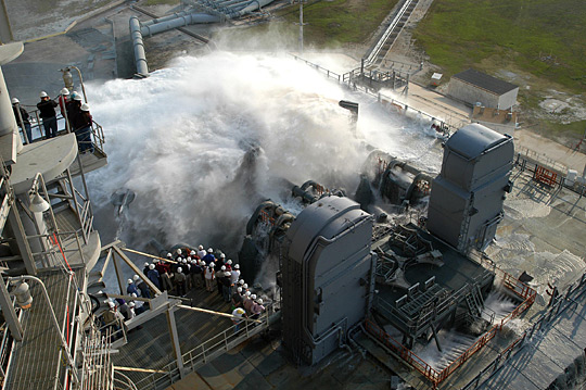 Water is released onto the mobile launcher platform on Launch Pad 39A