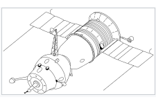 Soyuz 7K-OK(A) spacecraft with an active docking unit.