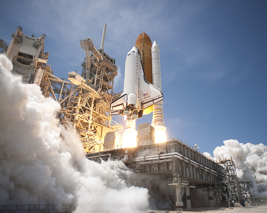 Atlantis lifts off from Launch Pad 39A at NASA's Kennedy Space Center