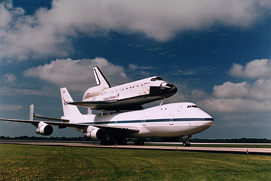 Space Shuttle Endeavour being transported by a Shuttle Carrier Aircraft