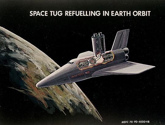 Early concept for a space shuttle refueling a space tug, 1970