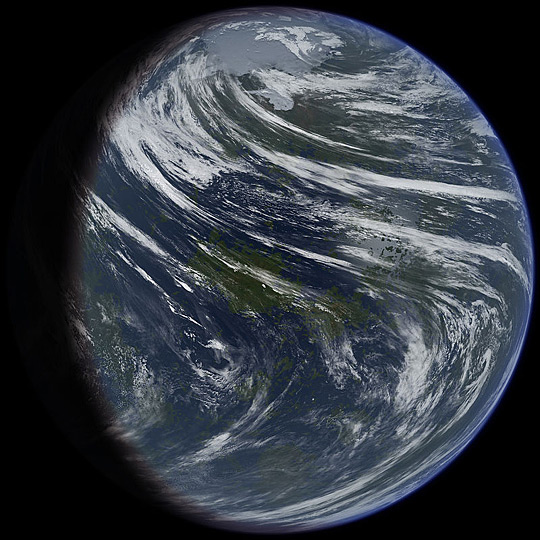 Artist's impression of a terraformed Venus