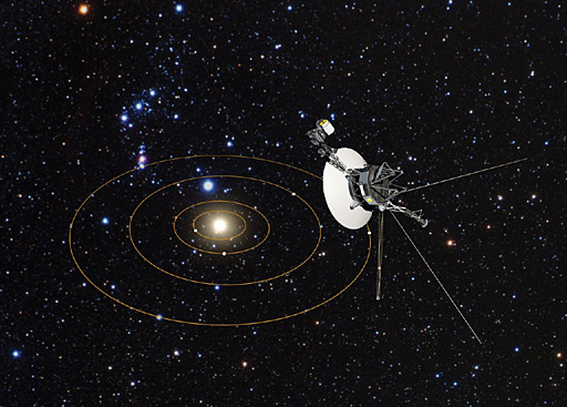Voyager 1′s view of Solar System (artist's impression).