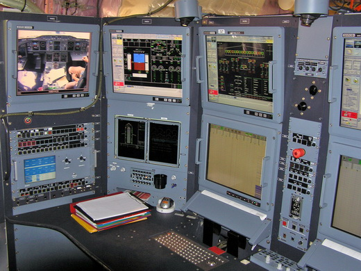Flight test engineer's workstation aboard an Airbus A380 prototype