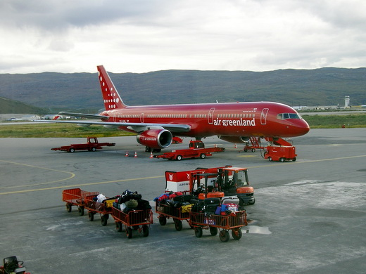 Air Greenland Boeing 757-200 at Kangerlussuaq Airport (2005), the aircraft was named Kunuunnguaq and registered OY-GRL. it was the first jet airliner in fleet. Sold in 2010