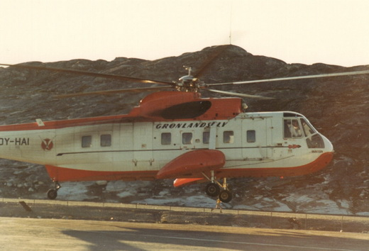 OY-HAI, the S-61N at Nuuk Heliport photographed only months before its fatal crash.