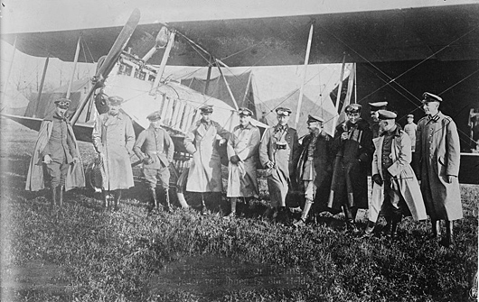 German pilots in front of an LVG B.I on the western front