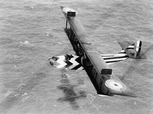 Felixstowe F.2B (N4545) in dazzle scheme during an anti-submarine patrol. The dazzle camouflage adopted aided identification during air combat and on the water in the event of being forced down.