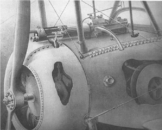 The Alkan-Hamy synchronization gear installed in a Nieuport 17