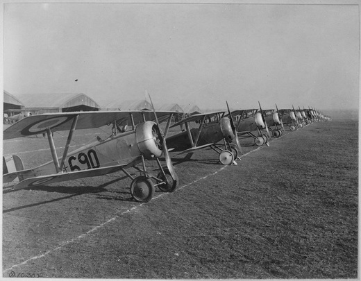 Lineup of Nieuport 17 trainers at Issoudun Aerodrome, France