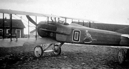 Capt. Charles Biddle's 13th Aero Squadron SPAD S.XII, showing the slight positive stagger of the wings.