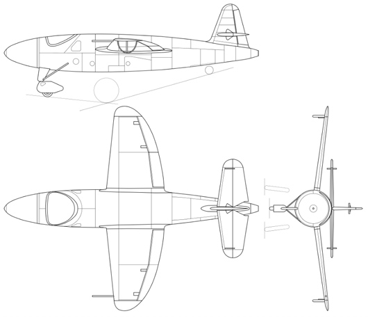 Drawing of the He 176 V1 prototype rocket aircraft