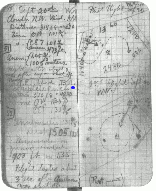 Wilbur's logbook showing diagram and data for first circle flight on September 20, 1904