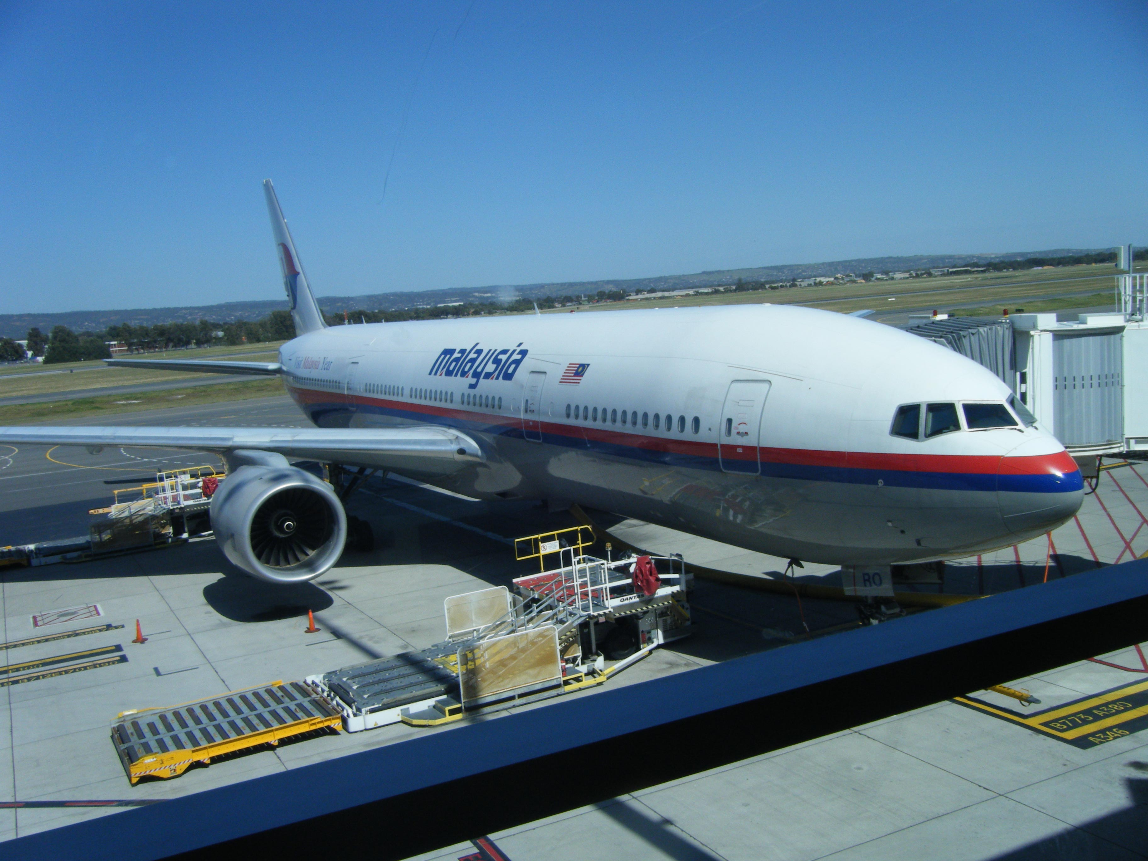 Malaysia airlines boeing 777 flight mh138 docked at adelaide airport