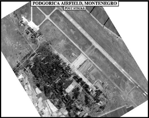 Damage done to Podgorica Airport after 1999 NATO bombing of Yugoslavia