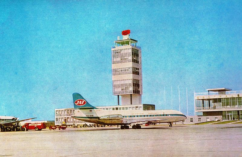 Belgrade Airport in the 1960s and JAT Sud Aviation Caravelle in front of Control Tower