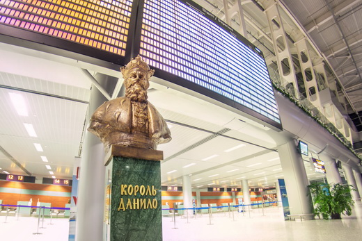 Bust of Danylo Halytskyi inside the terminal