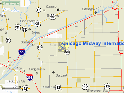 Chicago Midway International Airport - Denver Circled On Us Map