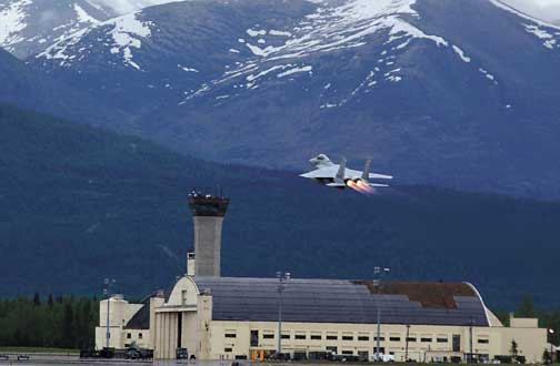 Japanese f 15 takes off from elmendorf during a joint exercise