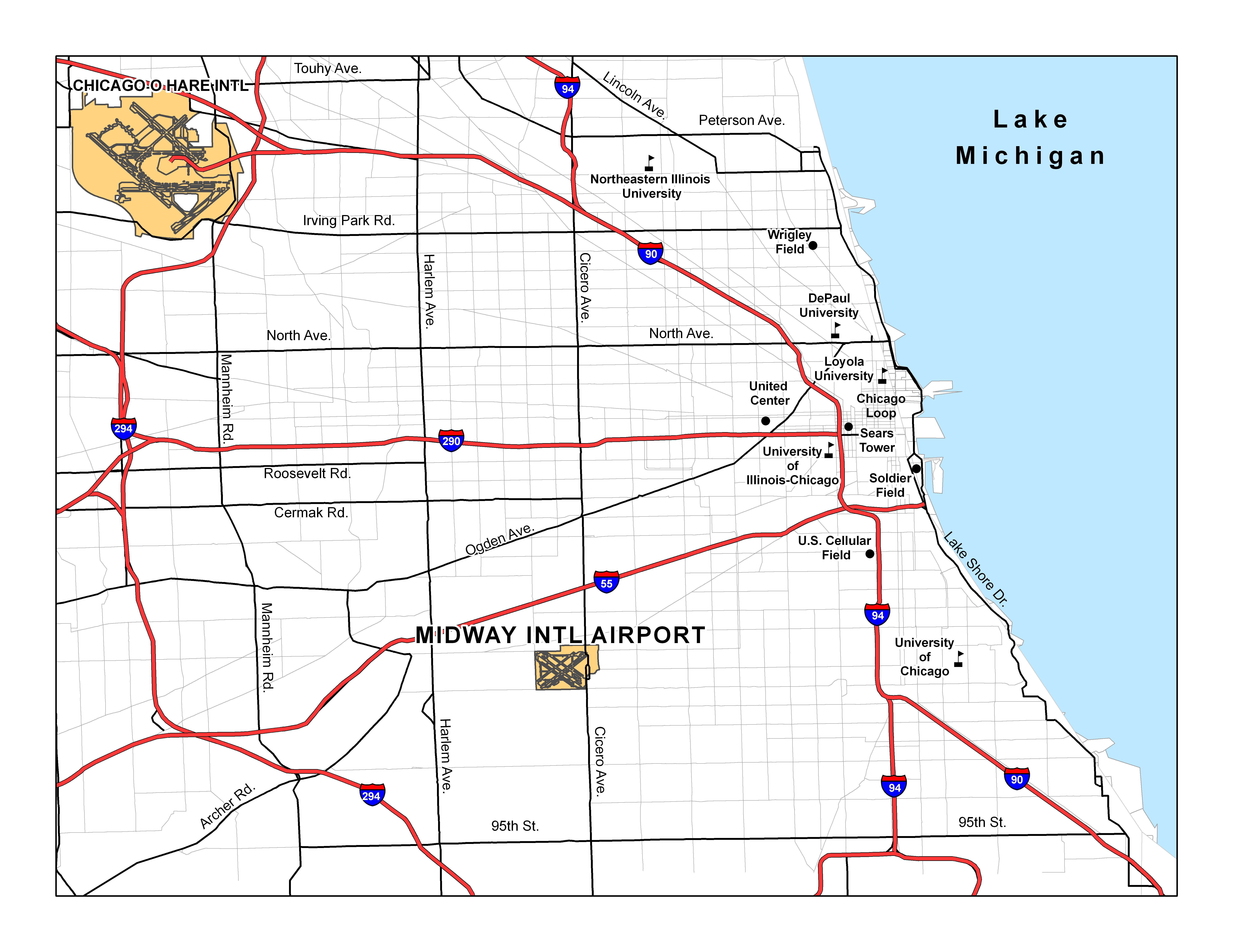 the greater chicago area featuring chicago midway and o'hare internationalairports. chicago midway international airport
