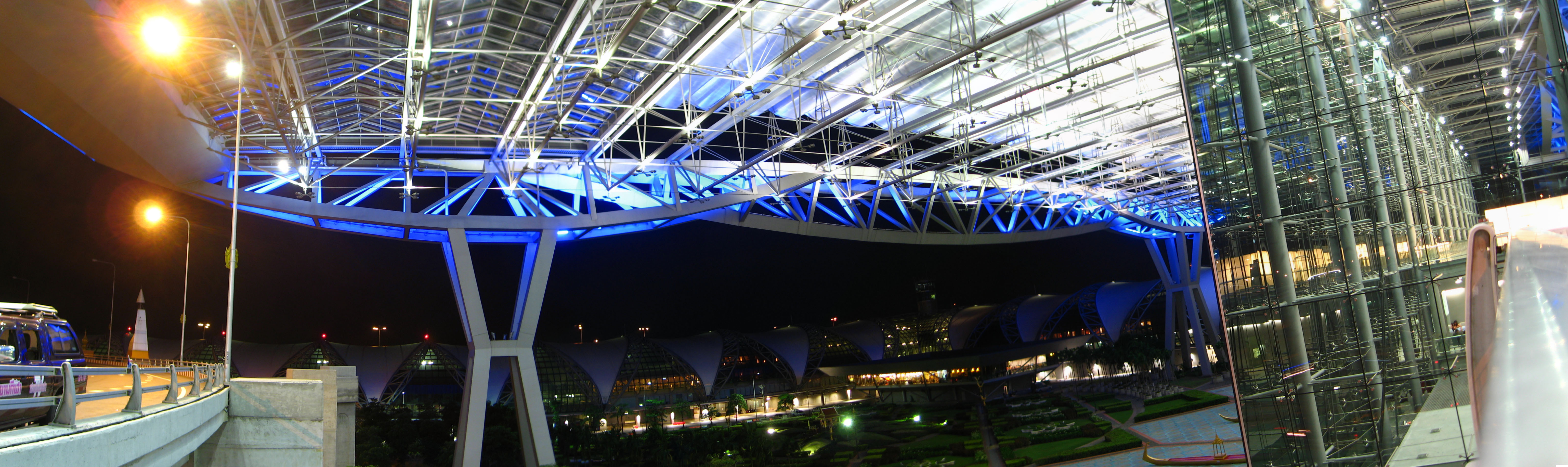 Inner courtyard and terminal structure by night