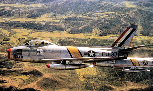 North American F-86F-25-NH Sabre AF Serial No. 52-5371 of the 18th Fighter-Bomber Group, 1953. Aircraft marked as Wing Commander's.