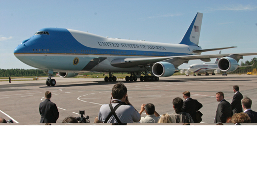 Air Force One arrives for the 2006 G8 summit in Saint Petersburg