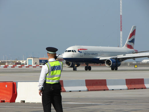 British Airways aircraft landing at Gibraltar Airport.
