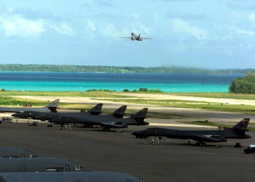 B-1B Lancer Bombers on Diego Garcia, November, 2001, during the bombing campaign in Afghanistan.