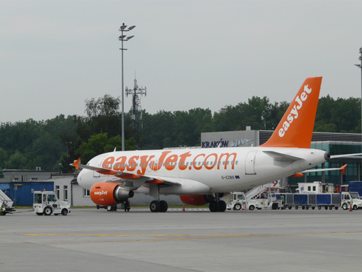 Easyjet Airbus 319 at stand