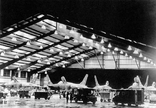 34th TFW F-105s (JJ Tailcodes) of the 388th TFW undergo nighttime maintenance inside the Big Hangar at Korat in 1968. The large hangar sheltered the aircraft and its ground crews from the intense tropical sunshine and heavy rains during the monsoon seasons.