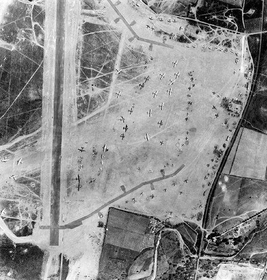 Airphoto of Borgo Airfield, 15 August 1944. Note the large number of B-17s on the parking apron, probably used during the Invasion of Southern France