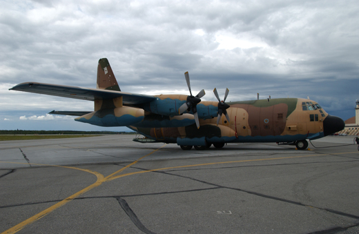 A C-130 Hercules airplane from the Spanish Air Force parks on the flightline for their stay during Red Flag-Alaska 07-3 at Eielson Air Force Base.