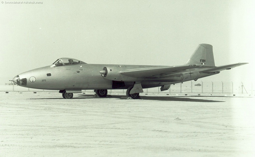 A Canberra of the No. 35 Squadron. The Rapier emblem is clearly visible